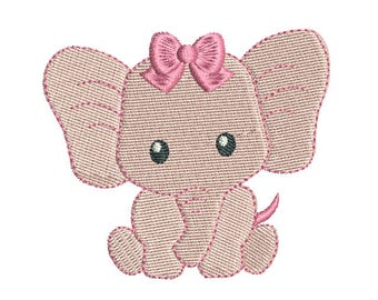 Mini Elephant Machine Embroidery Design, Baby Girl Elephant Fill Stitch Machine Embroidery, 3 Mini Sizes, Instant Download, No: FA560-2