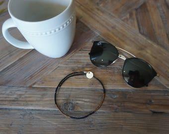 Black & bronze beaded choker • black beaded necklace • black and gold choker • black wire choker