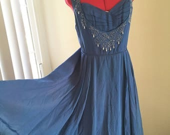 Stunning 1940s homemade evening gown in pale cobalt blue with hand beading