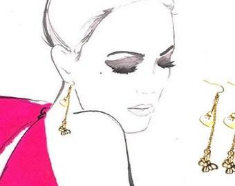 10K Gold Long Earrings