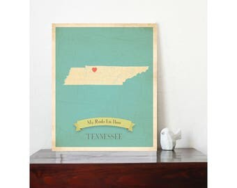 Tennessee Roots Map, Customized Print, Map Wall Art, Map Art Print, Map Poster, Tennessee Map Artwork, Map of Tennessee, Tennessee state map