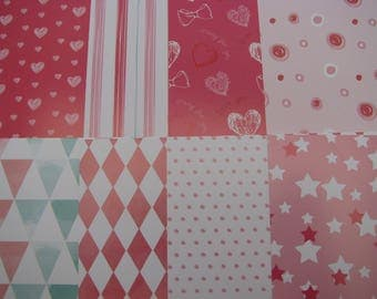 A4 - 210 gr - 8 feuilles de papier glacé  avec motifs assortis