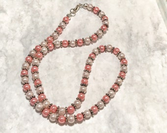 Pink and Ivory Pearl Necklace