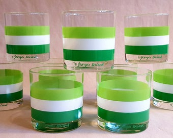 Vintage Georges Briard Green Stripe On-the-rocks Glasses, Set of 9