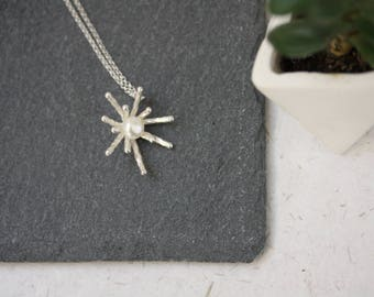 Pearl Firework Sterling Silver Pendant on Rolo Chain