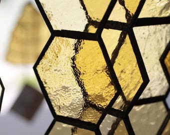 Stained Glass Honeycomb Window Ornament