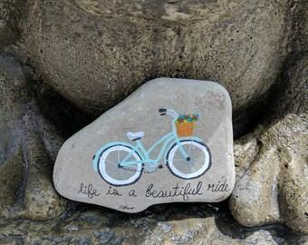Bicycle acrylic painting on rock