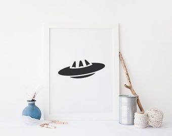 Printable UFO, Alien Printable, Minimalist Wall Decor, Minimalist Wall Art, Minimalist Room Decor Printable, Minimalist Printable Art