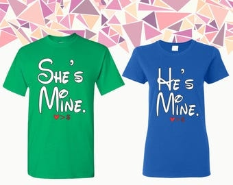 She's Mine He's Mine T-shirts She's Mine He's Mine Shirt Tees She's Mine He's Mine Couple T-shirts Couple Shirts Couple Tees Gift For Couple