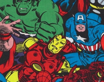 Marvel Avengers Fabric, Captain America, Thor, Hulk, Ironman, Spiderman, Characters from the Comic Strip - FQ