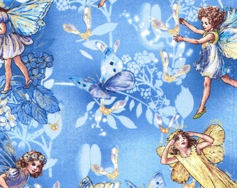 Cicely Mary Barker Flower Fairy Fairies Sky Characters on Blue 100% Cotton Fabric by Michael Miller - FQ