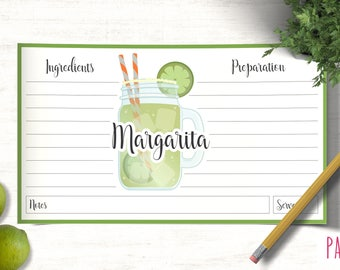 Card Recipe Template Margaritas | cocktail template, printable recipes, recipe box cards, recipe pages, blank recipe card, custom recipe