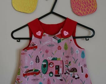 Mary Mouse pink and red baby dress age 1-2