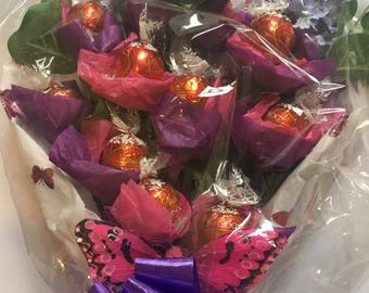 Milk chocolate Lindor truffles  tied bunch / bouquet