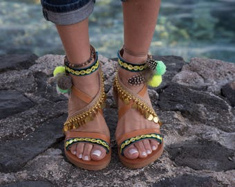 "Handmade Greek Sandals, Ankle strap, Gladiator Sandals, Pom Pom Flat Sandals, Bohemian,""LAGUNA"" boho green gold chain"