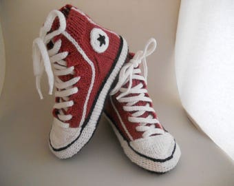HandicraftUA |Knitted socks like sneakers Converse|Warm socks for men and women|Ideas for gifts|Original knitted sneakers|Hosiery|Hand socks