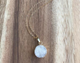 White Druzy Necklace - Long Druzy Gold Necklace