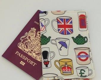 London fabric passport cover.  England fabric passport cover, passport sleeve, passport jacket, passport protector.