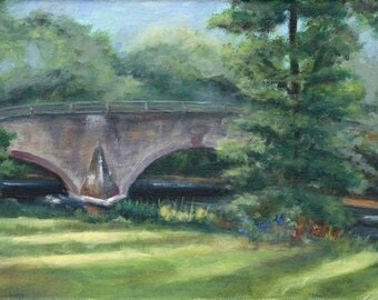 Bridge across the water 8x16 oil painting