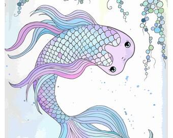 Nursery art, children's room wall art, bathroom art, dorm room decor, home decor, Pastel Princess Bubble Koi Watercolor Print