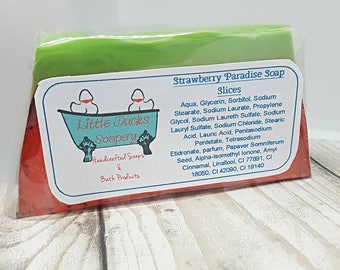 Strawberry Paradise flavoured soap slice