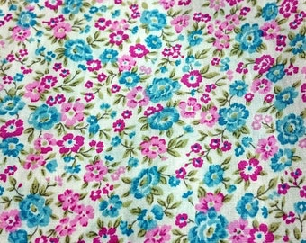 Floral Fabric Flower Fabric,Shabby Chic Style Japan Cotton, Pink Blue Floral Japan Cotton Fabric