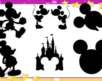 Mickey Mouse Silhouette PNG,Mickey Mouse Silhouette PDF,Mickey Mouse Silhouette,Mickey Mouse
