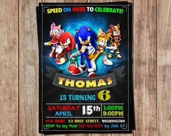 Sonic Invitation- Sonic Birthday- Sonic Personalized- Sonic Birthday Invitation- Sonic Printable- Sonic Birthday Party- Sonic Invite- Sonic