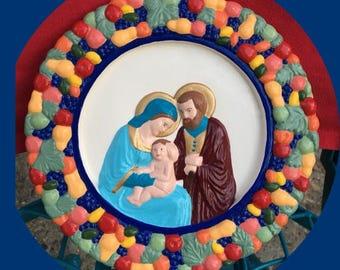 Holy family wall plaque- Della robbia.