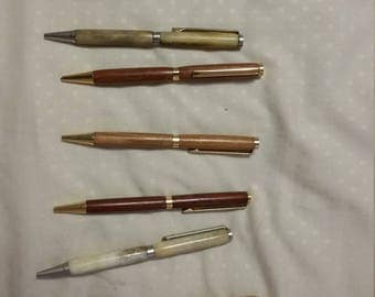 Hand turned pens and pencils.