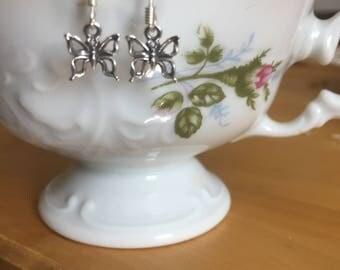 Sterling Silver dangling miniature butterflies earrings