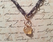 Citrine and Macrame Necklace,Macrame jewelry, macrame jewellery, citrine necklace, citrine pendant, grey necklace, wire wrapped necklace