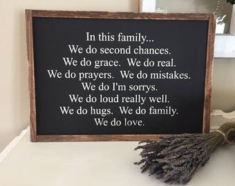 In this family we do wooden sign / handmade sign / home decor / family sign / farmhouse sign / fixer upper