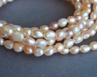 64 inches Genuine 7-8mm Natural White & Pink Nugget Freshwater Pearl Necklace, Bridal Pearl Necklace, Long Genuine Pearl Necklace (137-NKN64