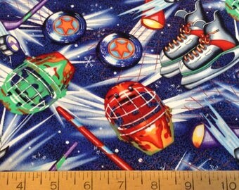 Ice hockey theme cotton fabric by the yard