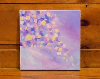 """Pastel Sprinkle Acrylic Painting - 10x10"""" - Pink and Purple Painting - Airy Acrylic Painting - Colorful Abstract Acrylic Pastel Painting"""
