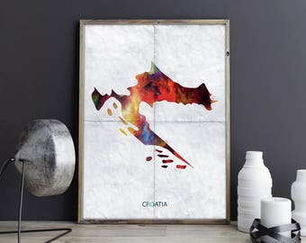 Croatia Art Croatia Wall Art Croatia Wall Decor Croatia Photo Croatia Print Croatia Poster Croatia Map Country Map Watercolor Map Unframed