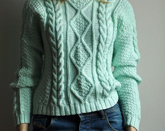 Hand knitted wool sweater - S-M-L