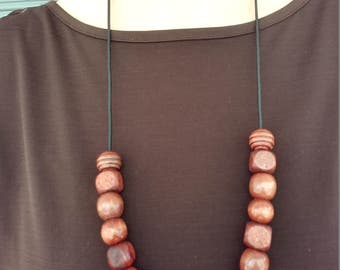 """Hand Made 24"""" Long Wooden Beaded Necklace On 2mm Black Stretch Cord"""
