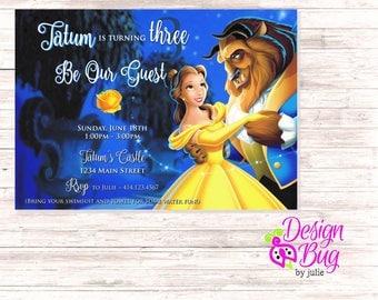 Beauty and the Beast Birthday Invite
