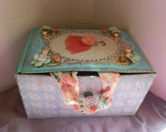 Blue and Pink Flower Box-Upcycled Cardboard Box