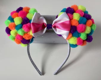 Up Inspired Mouse Ears Pom Pom Mouse Ears Rainbow Mouse Ears Balloon Inspired Mouse Ears