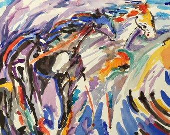 Horses - original watercolor painting