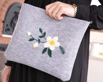 Gray felt hand bag with yellow green white embroidery flowers make up bag book bag ethnic bag night bag