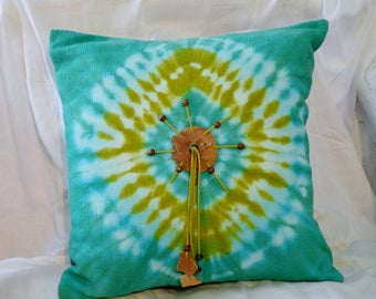 Handmade/Aqua and green/Pillow Cover/Tie-dye/Cotton/Interior/Home Furnishing/Accent Decor/Eco Friendly/Housewarming Gift/One-of-a-kind
