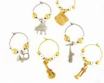Music Drink Charms, Wine Glass Charms