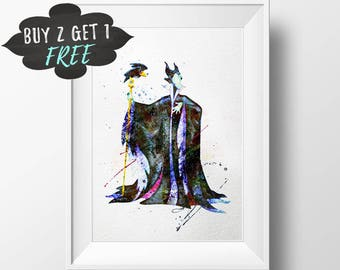 Maleficent Art Print Poster, Disney Villain Wall Art Decor, Printable Instant Download, Maleficent Raven Sleeping Beauty Digital Print