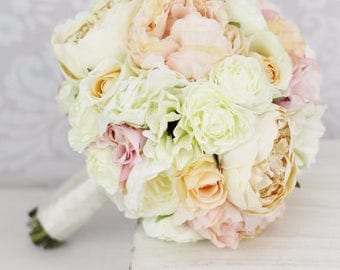 Silk Bride Bouquet Pink Peony Flowers Peonies Shabby Chic Wedding (1008)