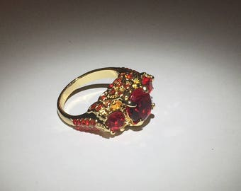 Cubic Zirconia Red Gemstone Gold Ring Size 7