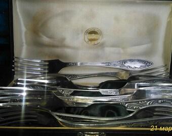 Мельхиоровые вилки серебро 24 мкм кольчугино / Nickel silver fork silver 24 µm Kolchugino